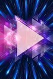 Materiale illustrativo multicolore astratto artistico dei triangoli sull'fasci luminosi multicolori fondo illustrazione vettoriale