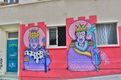 Materiale illustrativo murale nel distretto di Cerro Alegre valparaiso chile Fotografia Stock