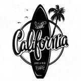 Materiale illustrativo praticante il surfing di California, grafici della stampa dell'abito della maglietta Immagine Stock Libera da Diritti