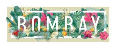 Materiale illustrativo tipografico incorniciato floreale della città di BOMBAY di vettore Immagine Stock