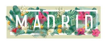 Materiale illustrativo tipografico incorniciato floreale della città di MADRID di vettore Immagini Stock Libere da Diritti
