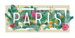 Materiale illustrativo tipografico incorniciato floreale della città di PARIGI di vettore Immagini Stock