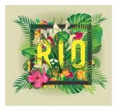 Materiale illustrativo tipografico incorniciato floreale della città di RIO di vettore Fotografia Stock