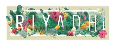 Materiale illustrativo tipografico incorniciato floreale della città di RIYAD di vettore Fotografia Stock Libera da Diritti