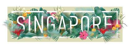 Materiale illustrativo tipografico incorniciato floreale della città di SINGAPORE di vettore Immagine Stock