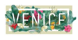 Materiale illustrativo tipografico incorniciato floreale della città di VENEZIA di vettore Immagini Stock Libere da Diritti