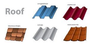 Materialen voor dakwerk worden gebruikt dat stock illustratie