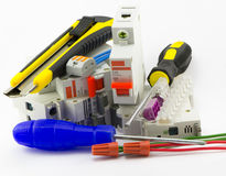 Materiales consumibles y electricista de las herramientas Imágenes de archivo libres de regalías