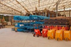 Materiales de construcción de Warehouse Foto de archivo libre de regalías