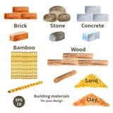 Materiales de construcción fijados ilustración del vector