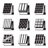 Materiales de construcción para los tejados stock de ilustración