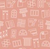Materiales de la decoración, construcción, modelo inconsútil, dibujo de esquema, rosa, color, vector Imágenes de archivo libres de regalías