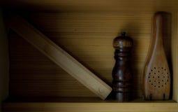 Materiales de madera de la cocina imagen de archivo libre de regalías