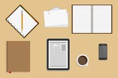 Materiales de oficina de los iconos Concepto del lugar de trabajo del negocio Imagen de archivo