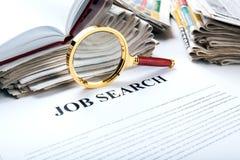 Materiales de oficina y búsqueda de trabajo Imagen de archivo