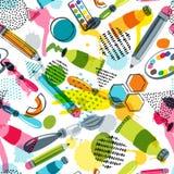 Materiales del arte para el diseño del arte, creatividad Modelo inconsútil del doodle del vector Fondo con los artículos para la  stock de ilustración