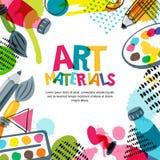 Materiales del arte para el diseño y la creatividad Ejemplo del garabato del vector Fondo de la bandera, del cartel o del marco ilustración del vector