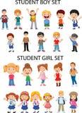 Materiales generales - figuras de la muchacha y del muchacho stock de ilustración