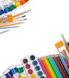 Materiales para la creatividad de los niños Imagen de archivo libre de regalías