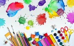 Materiales para la creatividad de los niños Fotografía de archivo libre de regalías