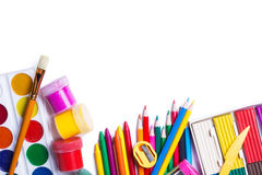 Materiales para la creatividad de los niños Foto de archivo