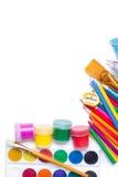 Materiales para la creatividad de los niños Foto de archivo libre de regalías
