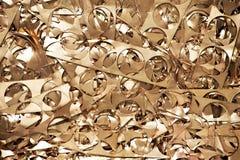 Materiali d'ottone dello scarto di metallo che riciclano backround Fotografia Stock