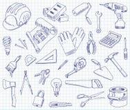 Materiali da costruzione del disegno a mano libera Fotografia Stock Libera da Diritti