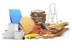 Materiali da costruzione isolati su bianco rappresentazione 3d Fotografia Stock Libera da Diritti