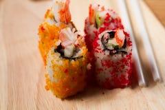Materiali da otturazione dei sushi uovo di pesce del granchio Fotografia Stock Libera da Diritti
