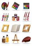 Materiali della pittura per gli artisti royalty illustrazione gratis