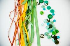 Materiali di cucito multicolori Fotografie Stock Libere da Diritti