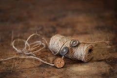 Materiali di cucito rustici Fotografia Stock Libera da Diritti