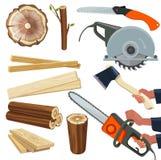 Materiali di legno Il vettore di legno del mucchio di silvicoltura degli utensili per il taglio dell'attrezzatura della falegname illustrazione vettoriale