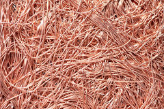 Materiali di rame dello scarto di metallo che riciclano backround Fotografia Stock