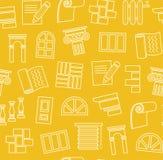 Materiali di rifinitura, costruzione, modello senza cuciture, disegno di profilo, giallo, colore, vettore illustrazione di stock