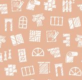 Materiali di rifinitura, costruzione, modello senza cuciture, matita che cova, marrone della rosa, vettore illustrazione di stock