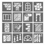 Materiali di rifinitura e della costruzione, icone, matita di ombreggiatura, bianco, gray, vettore illustrazione vettoriale