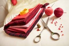 Materialien für Näharbeit. stockfoto