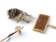 Materialien für spinnende Wollen stockfotografie