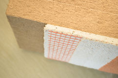 materials background - thermal insulating hemp fiber panels with Stock Image