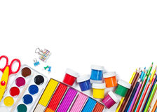 Materials for children's creativity. White background Royalty Free Stock Image