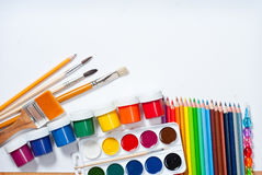 Materials for children's creativity. White background Stock Image