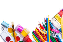 Materials for children's creativity. White background Stock Images