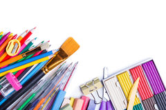Materials for children's creativity. White background Stock Photography