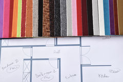Materials and colors for interior decoration on plan top view Stock Photos