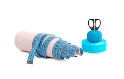 Materials for creative work on a white background. Threads, tapes, scissors, tapes for Hobbies and crafts Stock Image