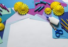 Materials for creativity. Blue and blue color. Children`s craft. Education at school. Favorite hobby royalty free stock image