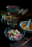 Materials of the egg dumplings for the Spring Festival of China Stock Photography
