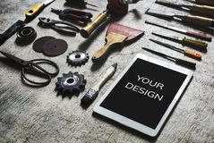 Materials and equipment flat lay Royalty Free Stock Photo